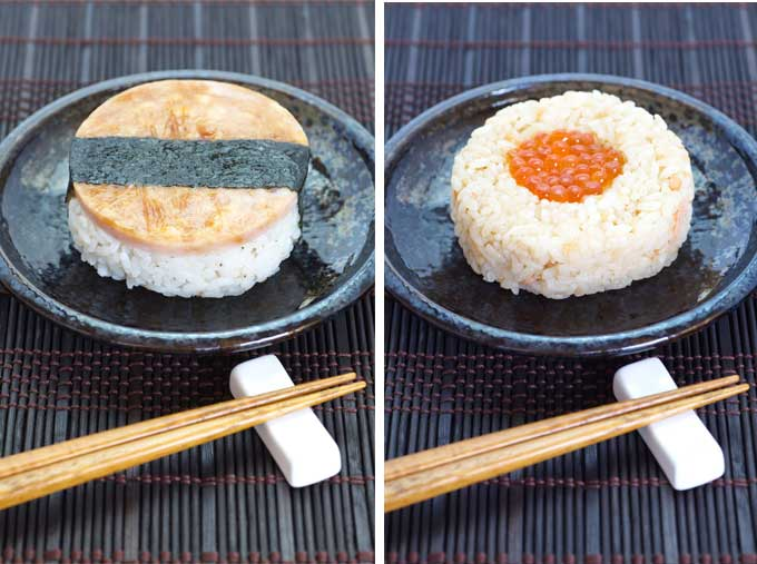 Onigiri sushi with nori (left). Onigiri sushi without nori (right)